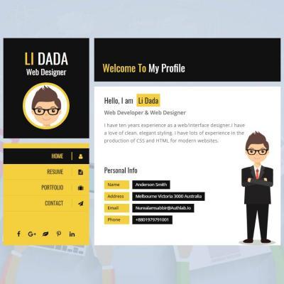 html5炫酷响应式个人求职简历名片网页模板