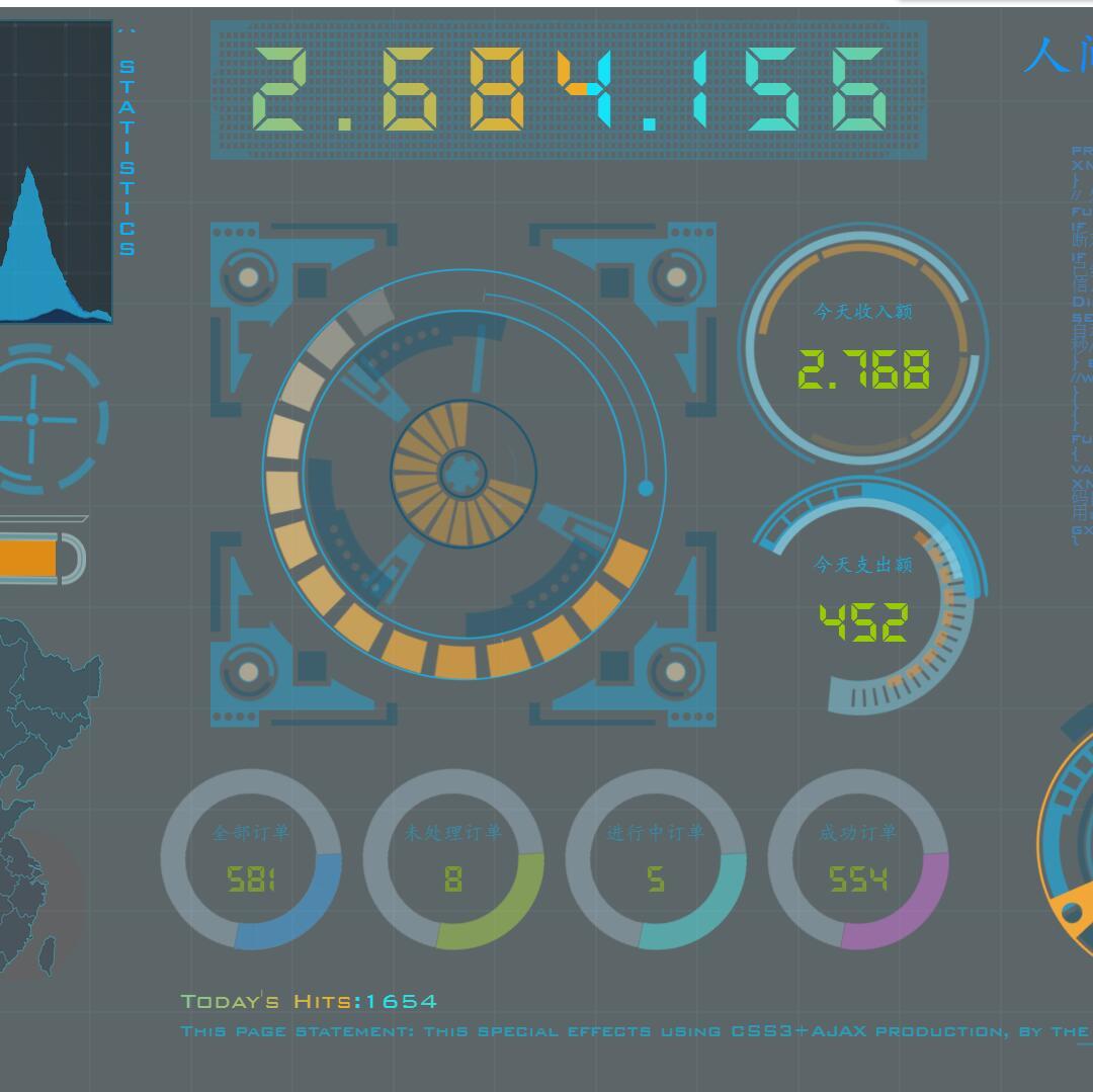 CSS3炫酷科幻全屏动态数据界面网页模板下载